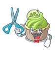 barber lemon cupcake character cartoon vector image