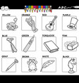 basic colors set for coloring with objects vector image