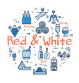 blue round red and white wine concept vector image vector image