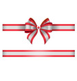 bow and ribbon with canada flag colors and leaf vector image vector image
