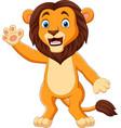 cartoon funny lion waving hand vector image vector image