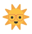 cartoon funny sun with sunglasses smile vector image vector image