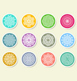 colorful round abstract mandala set on labels vector image