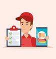 courier character delivery service icon vector image vector image