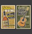 cuban rum and guitar music havana travel vector image vector image