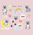 cute animals stickers fauna labels fluffy vector image vector image