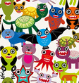 Cute cartoon Monsters seamless pattern on a white vector image