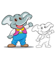 Cute elephant cartoon mascot vector image