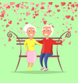 elderly man hugging woman sitting on bench vector image vector image