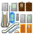 elevators or escalator lifts isolated icons vector image vector image