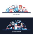 Flat design delivery service website headers vector image vector image