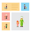 flat icon people set of boys daugther grandpa vector image vector image