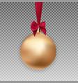 gold christmas ball with ball and ribbon on vector image vector image