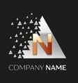 golden letter n logo in silver pixel triangle vector image