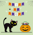 happy halloween a black cat stands next to a vector image