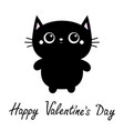 happy valentines day black cat toy icon big eyes vector image vector image