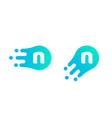 letter n logo abstract liquid bubble drop vector image