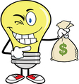 Light bulb holding money bag vector image vector image