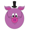 pink pig with a high hat and round eyeglasses on vector image