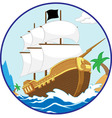 Pirate Ship on the Shore circle frame vector image vector image