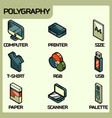 polygraphy color outline isometric icons vector image vector image