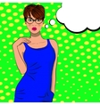Pop art cute fashion woman with bubble sign vector image vector image
