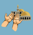 praying hands in front of mosque vector image