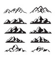 set black and white mountain silhouette vector image vector image