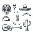 set mexican elements vector image