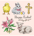 set of hand drawn easter symbols vector image vector image