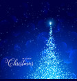 shiny blue background with sparkles tree vector image