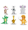 six cartoon animals isolated on white vector image