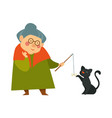 smiling granny old lady playing with her black vector image