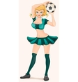 Soccer girl holding ball Woman cheerleader vector image vector image