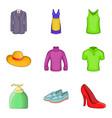 summer clothes icon set cartoon style vector image vector image