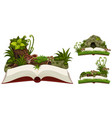three books of nature with cave and plants vector image vector image