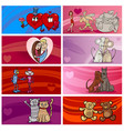 valentine cartoon greeting cards designs set vector image vector image