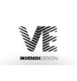 ve v e lines letter design with creative elegant vector image