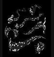 wavy music staves set on black background vector image