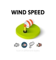Wind speed icon in different style vector image