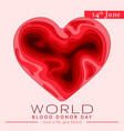 world blood donor day card june 14 awareness vector image