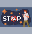 young woman near huge stop inscription and sign vector image