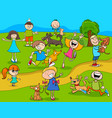 cartoon kids with dogs in the park vector image