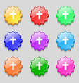 religious cross Christian icon sign symbol on nine vector image