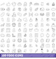 100 food icons set outline style vector image