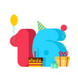 16 year birthday sign 16th template greeting card vector image vector image