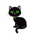 a black cat with green eyes sits sideways a neck vector image