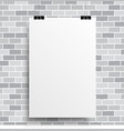 A white poster on a grey wall vector image vector image