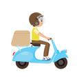 a young boy riding a delivery scooter vector image vector image