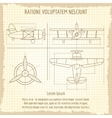 Aircraft retro blueprint drawing vector image